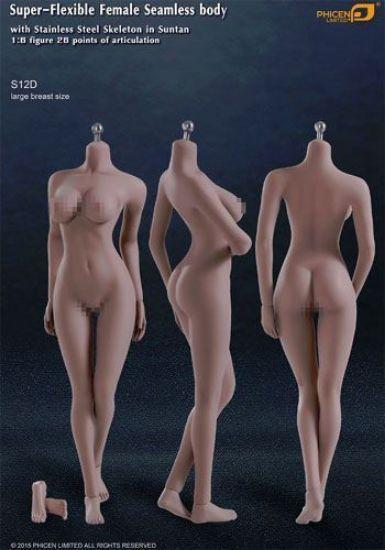 Phicen Limited Super-Flexible Female Seamless Body Suntan Large Breast 1/6 Scale PL-LB2015S12D