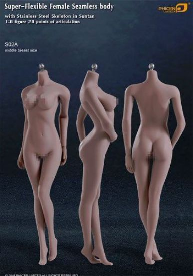 Phicen Limited Super-Flexible Female Seamless Body Suntan Middle Breast 1/6 Scale PL-MB2015S02A