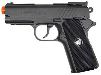 Wingun Mini Tactical 1911 Co2 Non-Blowback Pistol Black Grip